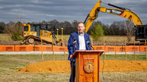 Cameron Kovach speaks at the groundbreaking ceremony.